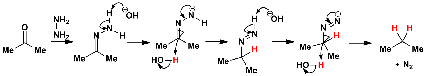 Wolff Kishner reduction mechanism