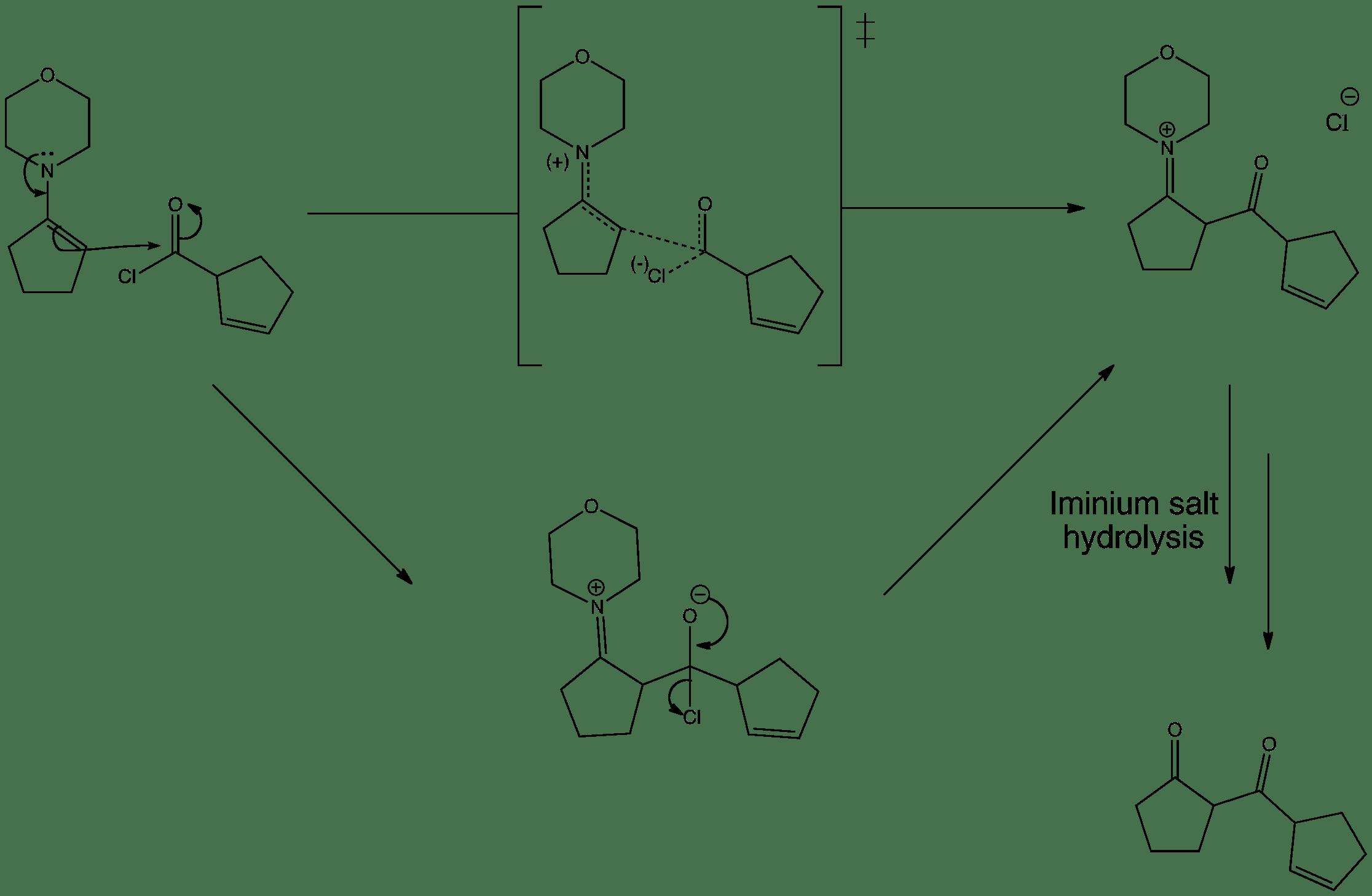 Enamine Acylation - Reaction With An Acid Chloride — ChemTube3D